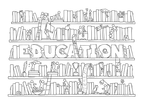 Sketch of people teamwork, books