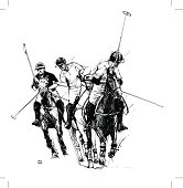 Sketch of polo players against white background