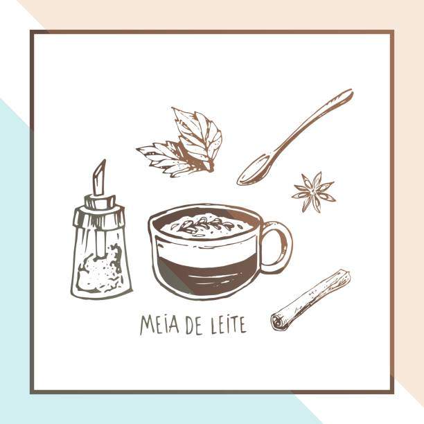 Sketch of Portuguese coffee Meia de leite. Hand drawn vintage vector illustration for cafe menu design or poster in the coffee house. Mug, sugar and cinnamon isolated on white background Hand drawn coffee cup. Vector poster design leite stock illustrations