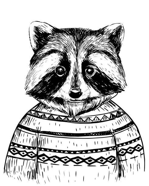 Sketch of racoon in coat. Hand drawn vector Sketch of racoon in coat. Hand drawn vector raccoon stock illustrations