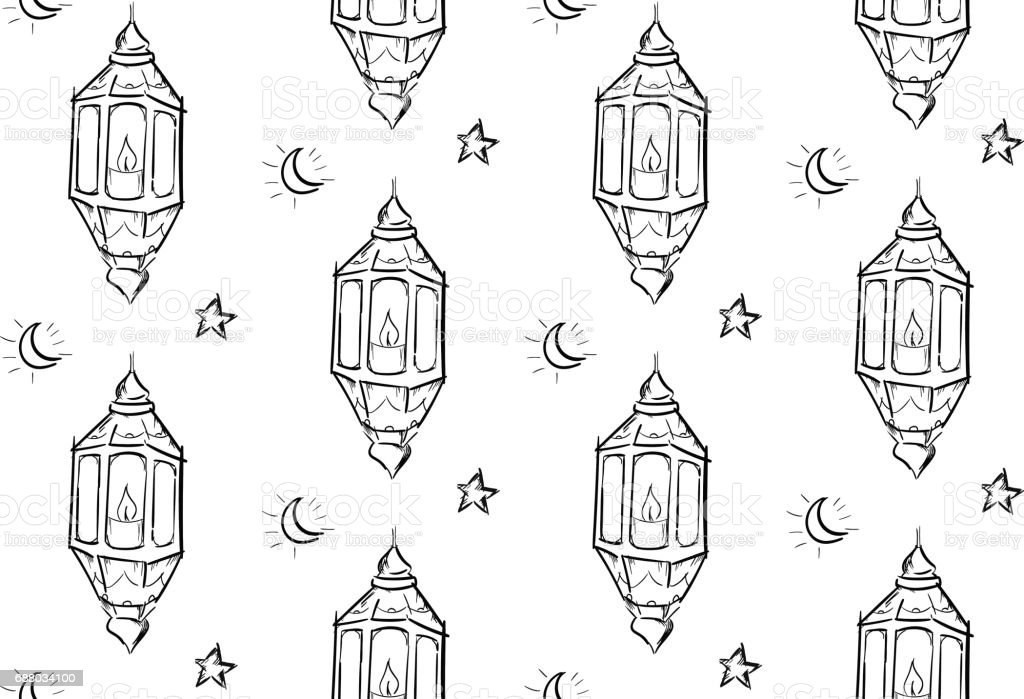 ramadan lantern pattern  Sketch Of Ramadan Lantern Seamless Pattern White Background Stock  Illustration - Download Image Now