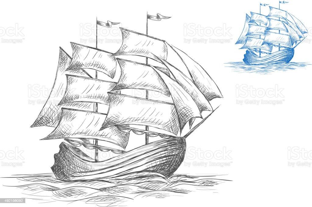 Ilustración de Dibujo Del Barco De Vela En Un Velero y más banco de ...
