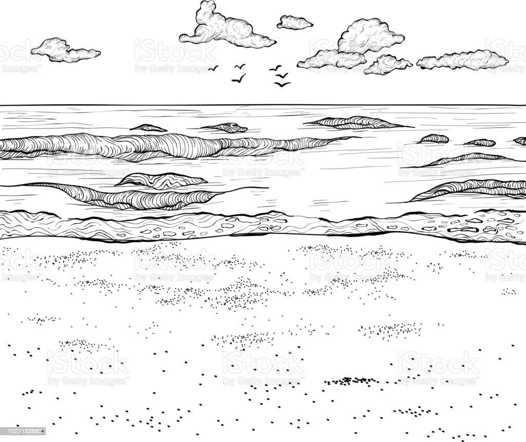 Sketch Of Sandy Beach And Wavy Sea Vector Illustration ...