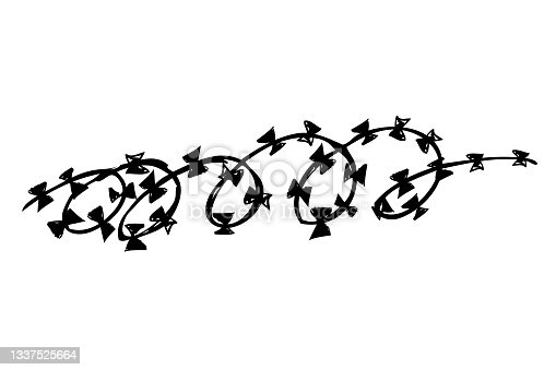 istock Sketch of seam curl Barbed Wire 1337525664