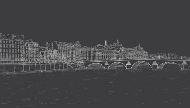 sketch of Seine embankment drawing of the embankment of the Seine and the bridge in Paris. Painted with chalk on black seine river stock illustrations