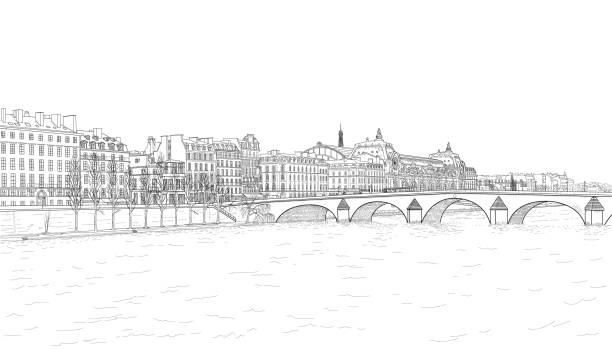 sketch of Seine embankment drawing of the embankment of the Seine and the bridge in Paris seine river stock illustrations
