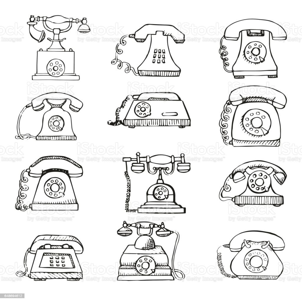 Sketch Of Set Retro Phone Isolated On White Background Vector