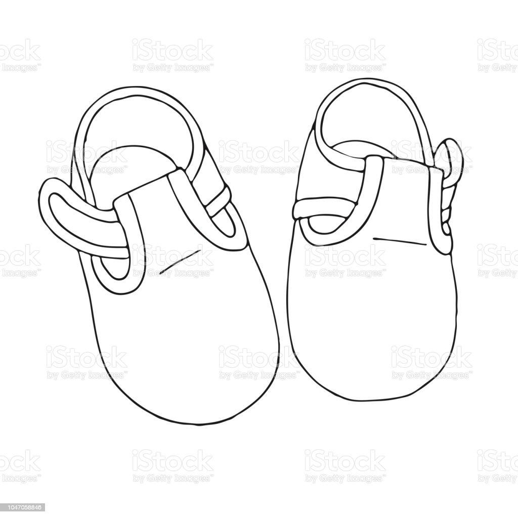buy online daa30 2bbcf Croquis de chaussures pour le bébé. Une paire de chaussures isolé sur fond  blanc.
