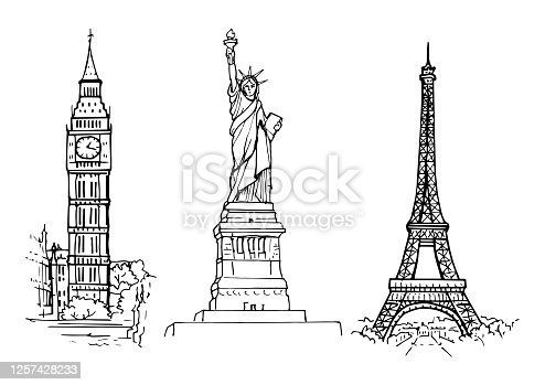 istock sketch of sights Statue of Liberty, Eiffel Tower and Big Ben 1257428233