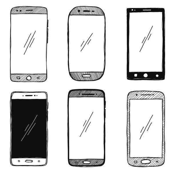 Sketch of smartphones. The set of phones is isolated on a white background. Vector illustration. Sketch of smartphones. The set of phones is isolated on a white background. Vector illustration. sketch stock illustrations