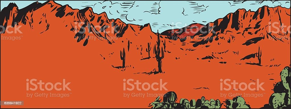 Sketch of Sonaran Desert with Cactus vector art illustration