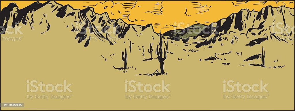 Sketch of Sonaran Desert with Scattered Clouds vector art illustration