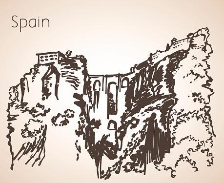 Sketch of spain city Seville. Puente Nuevo.