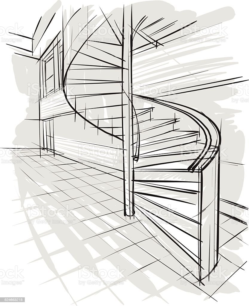 Sketch of stairs vector art illustration