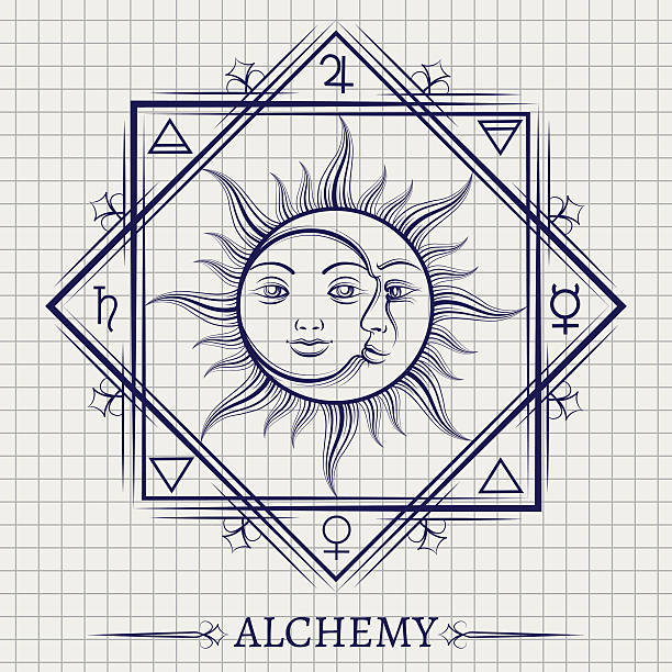 ilustraciones, imágenes clip art, dibujos animados e iconos de stock de sketch of sun moon and elements - tatuajes del sol