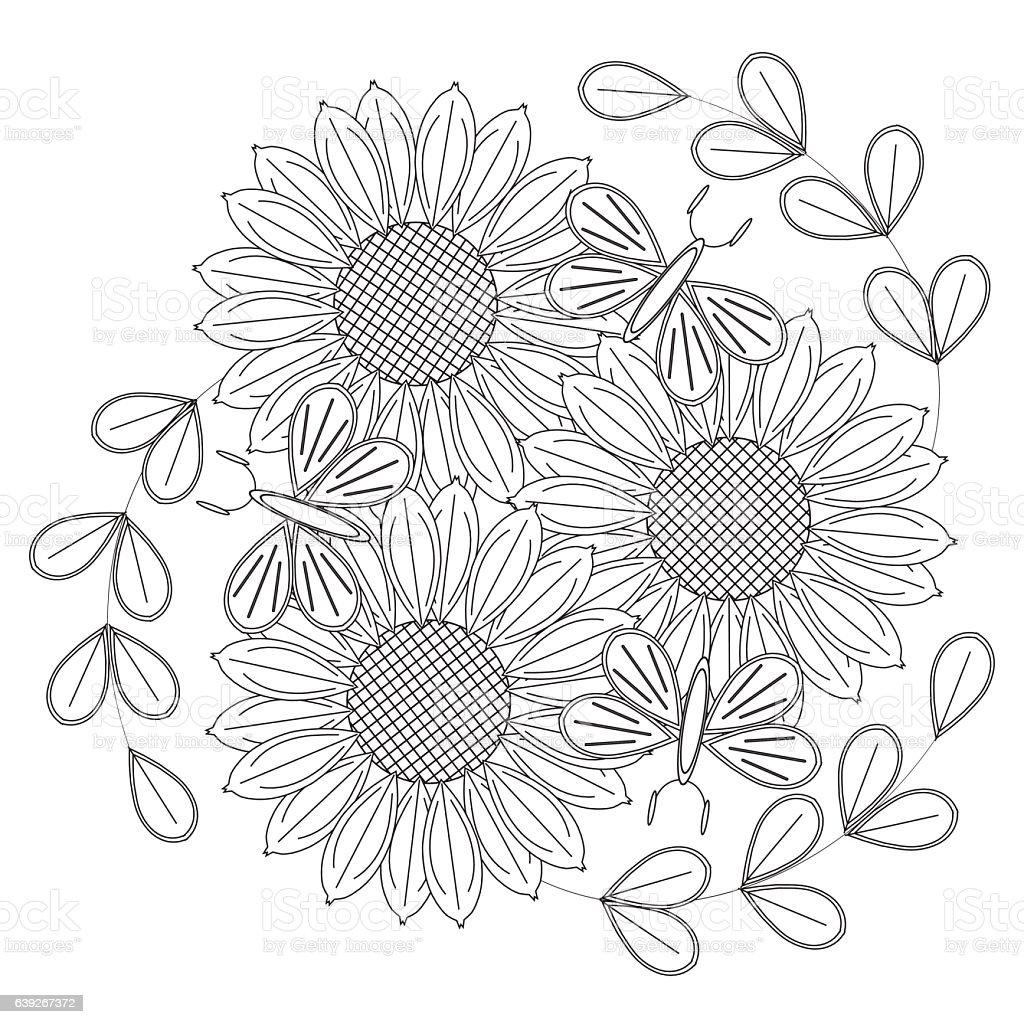 Sketch Of Sunflowers Butterflies For Anti Stress Coloring Page Royalty Free Stock Vector Art