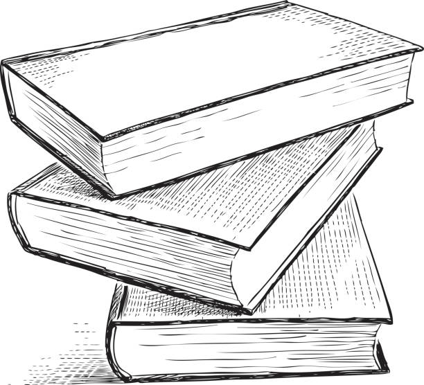 Black And White Stack Of Books Illustrations, Royalty-Free ...