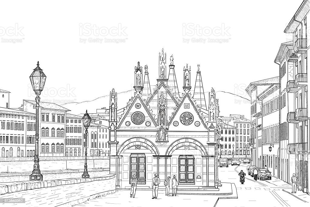 Sketch of the Church vector art illustration