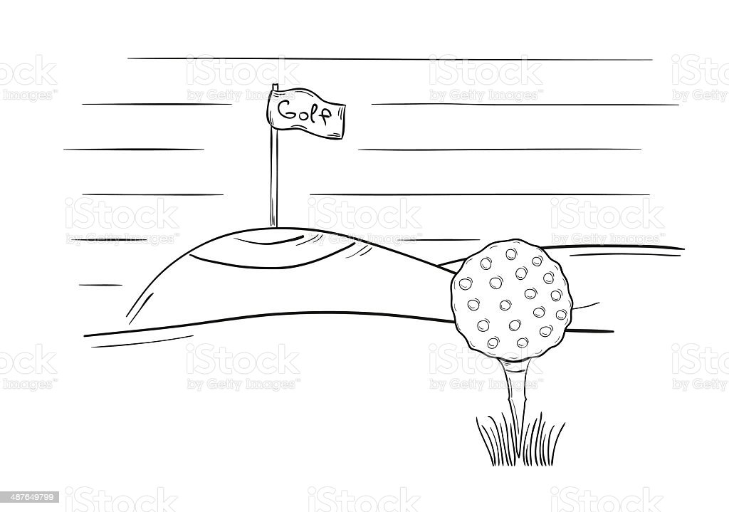 sketch of the golf ball and flag vector art illustration