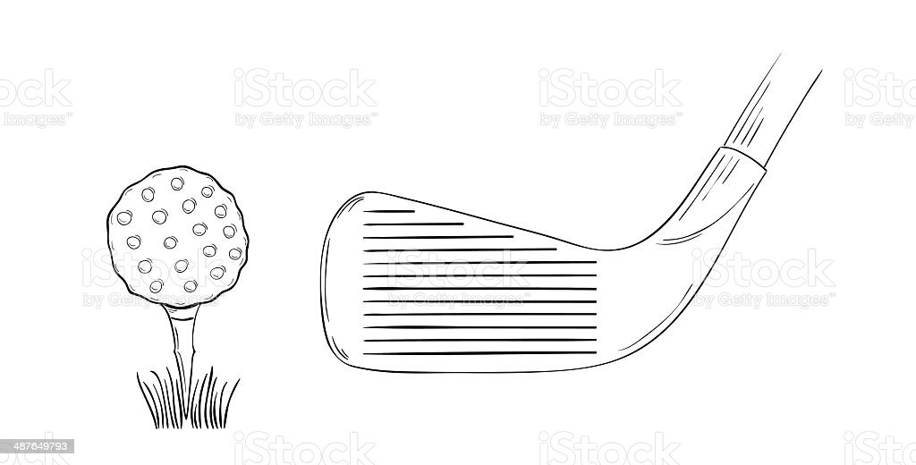 sketch of the golf ball and golf club vector art illustration