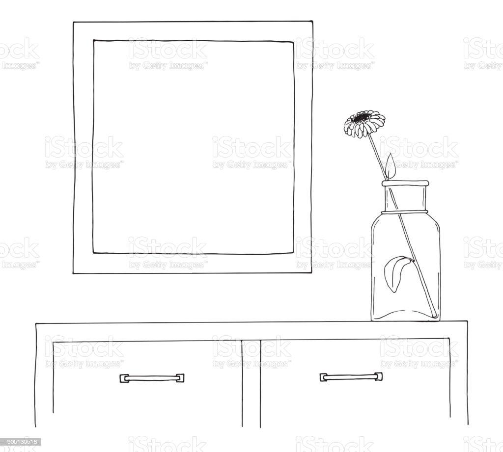 Skizze Des Innenraums Ein Tisch Ein Nachttisch Ein Regal Mit Verschiedenen Einrichtungsgegenstände Können Als Ein Mock Aufgebraucht Werden Rahmen Für