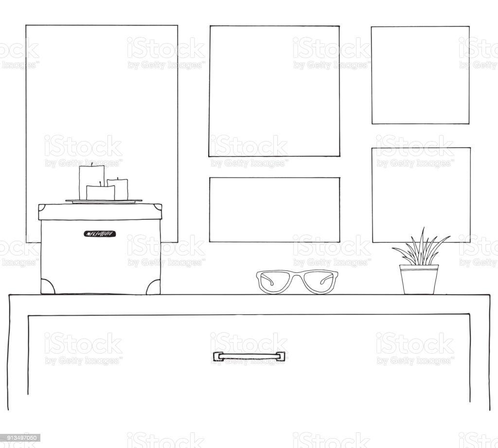 Ilustración de Esbozo Del Interior Una Mesa Una Mesita Una ...