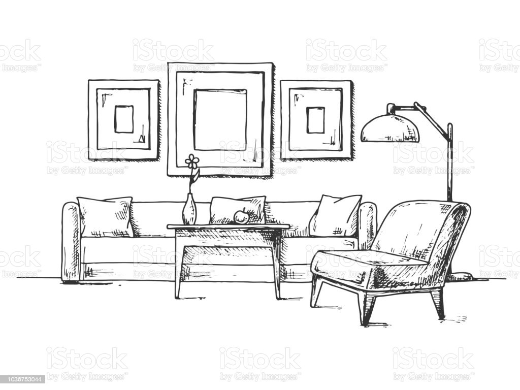 Sketch Of The Interior Sofa Armchair Coffee Table And Other Interior