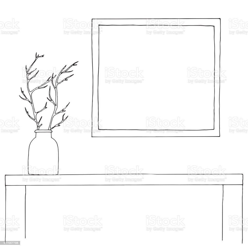 Ilustración de Esbozo Del Interior Mesa Mesita De Noche Estante Con ...