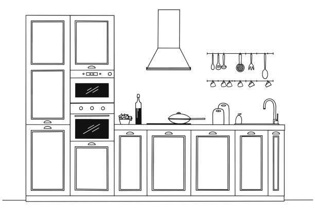 ilustrações de stock, clip art, desenhos animados e ícones de sketch of the kitchen, front view. vector illustration. - kitchen counter
