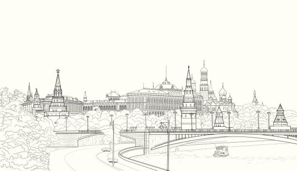 Sketch of the Moskow Kremlin Sketch of Moscow cityscape with landmarks, Kremlin, churches and President palace. kremlin stock illustrations