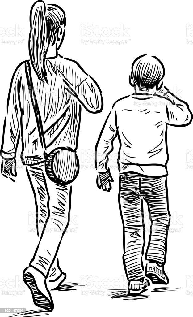 Sketch of the siblings going on a walk vector art illustration