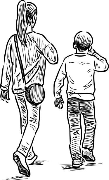 ilustrações, clipart, desenhos animados e ícones de esboço dos irmãos dar um passeio - irmão