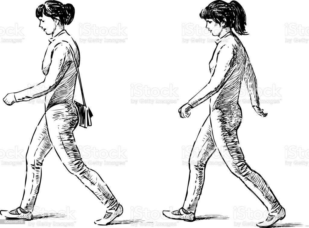 Sketch of the striding young women vector art illustration