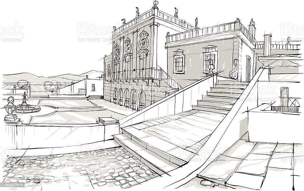 Skizze Der Villa Lizenzfreies Stock Vektor Art Und Mehr Bilder Von Architektur