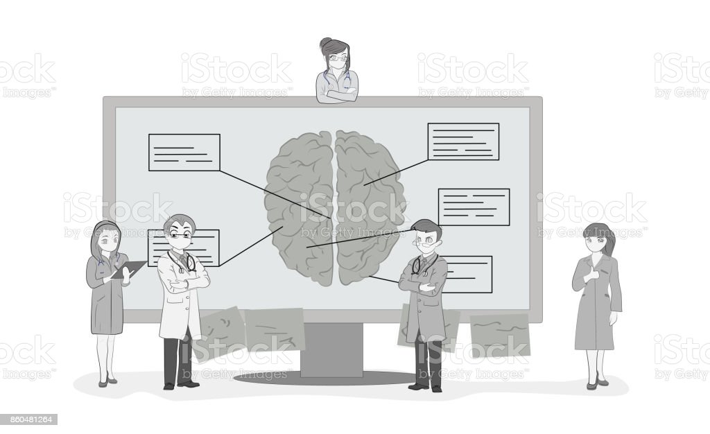 Sketch of the work of small people near the monitor with a picture of the human brain A medical team discusses the diagnosis. Hand drawn cartoon vector illustration for medical design and infographics vector art illustration
