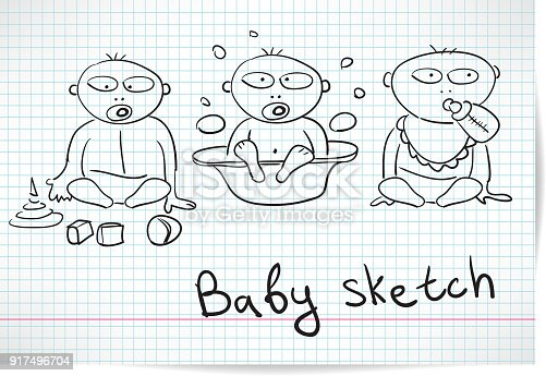 Sketch of three baby