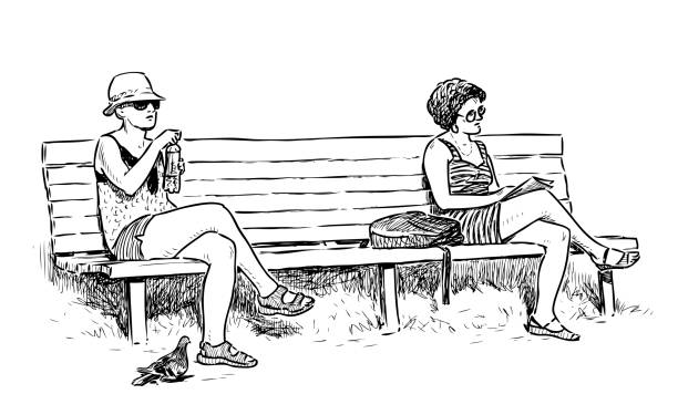 Best Drawing Of Two People Sitting On A Bench Illustrations Royalty Free Vector Graphics Amp Clip