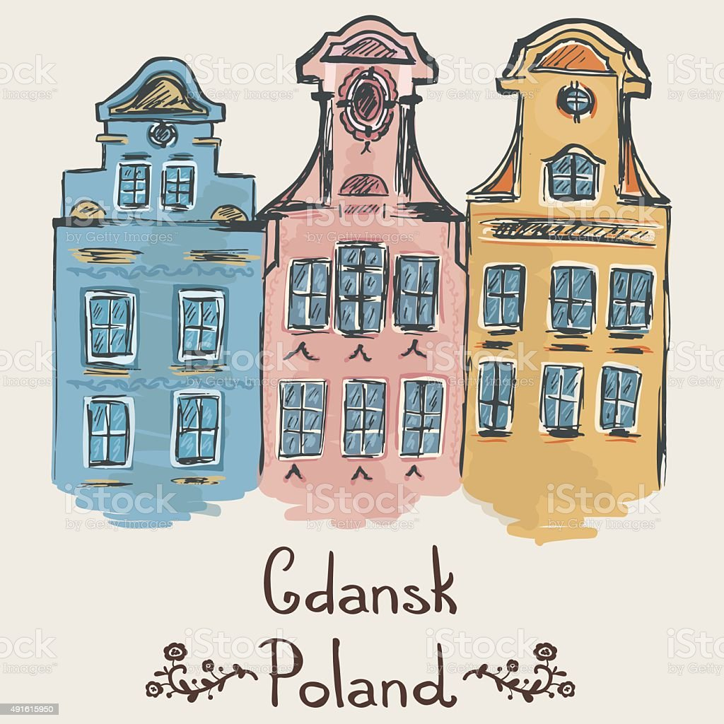 Sketch of typical buildings for Gdansk, Poland.