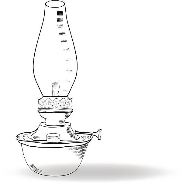 Sketch Of Vintage Oil Lamp Vector Art Illustration