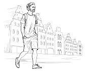 Sketch of walking hipster man in headphones. Vector illustration