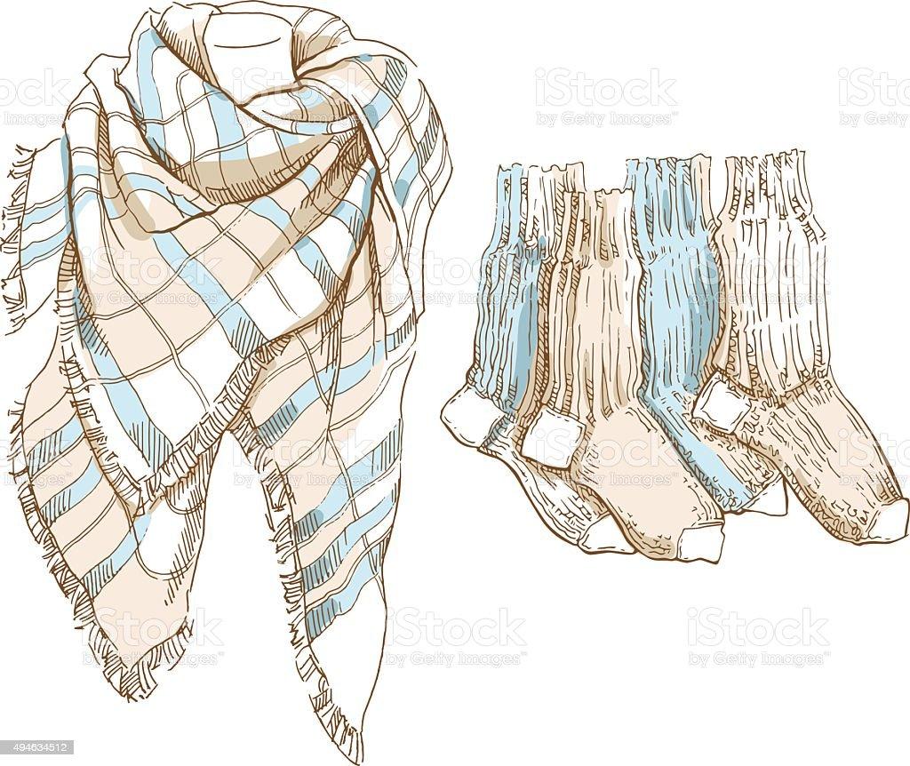 Sketch of winter clothes. vector art illustration