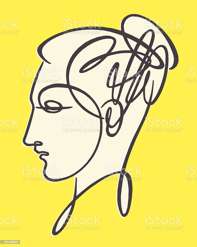 Sketch of woman's head in profile view royalty-free stock vector art