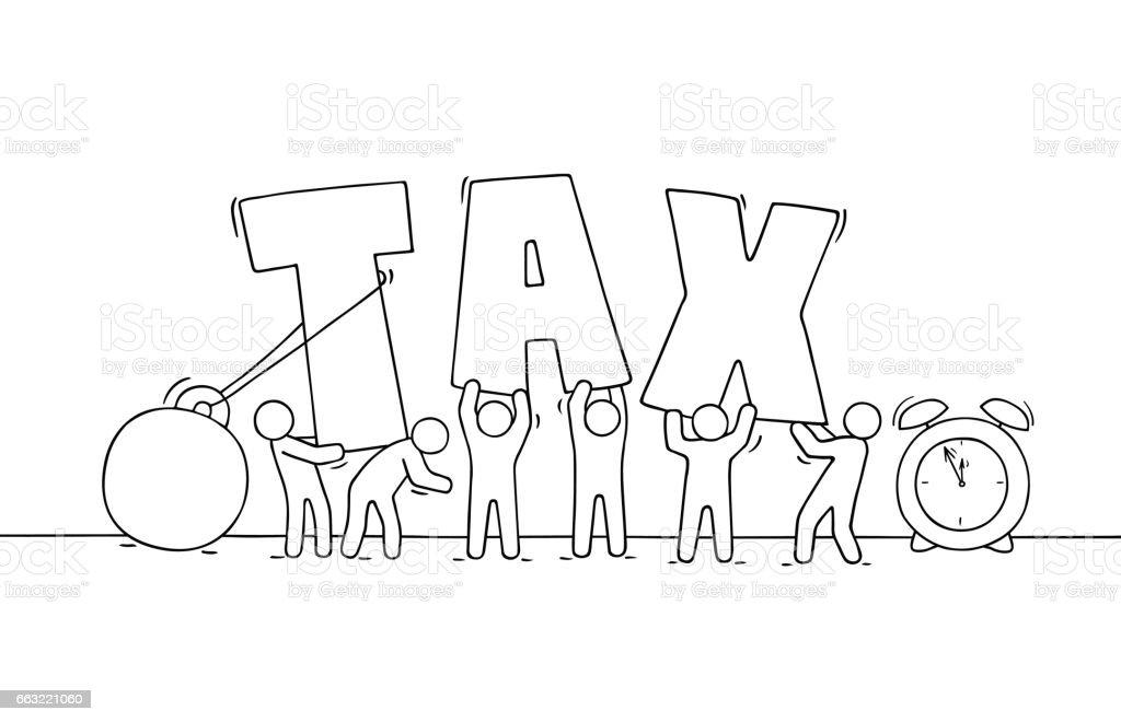 Sketch Of Working Little People Big Word Tax Stock Vektor Art und ...