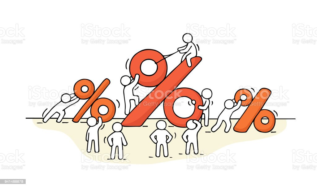 sketch of working little people with big percent signs stock vector