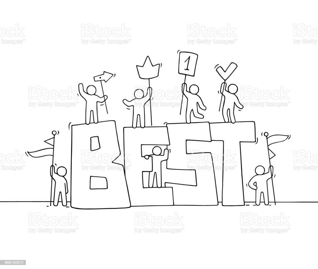 Croquis de travail petit peuple avec gros mot Best - Illustration vectorielle