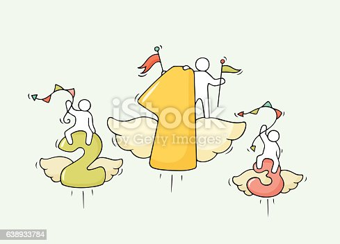 Sketch of working little people with flying numbers. Doodle cute miniature scene of workers about competition. Hand drawn cartoon vector illustration for business design and infographic.