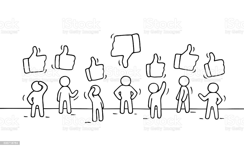 sketch of working little people with like and dislike signs stock