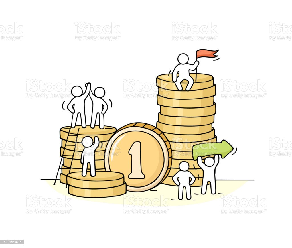 Sketch of working little people with stack of coins. vector art illustration