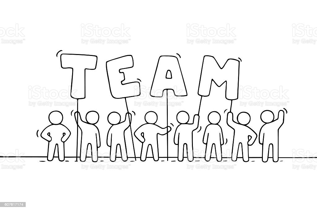 Sketch Of Working Little People With Word Team Stock Vector Art