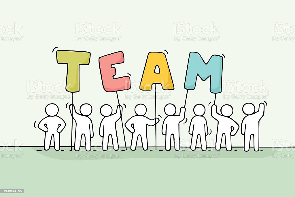 Sketch Of Working Little People With Word Team Stock Illustration